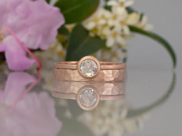 VS Rose Cut Diamond Engagement Ring in 14k Gold with a low round bezel and slim square band