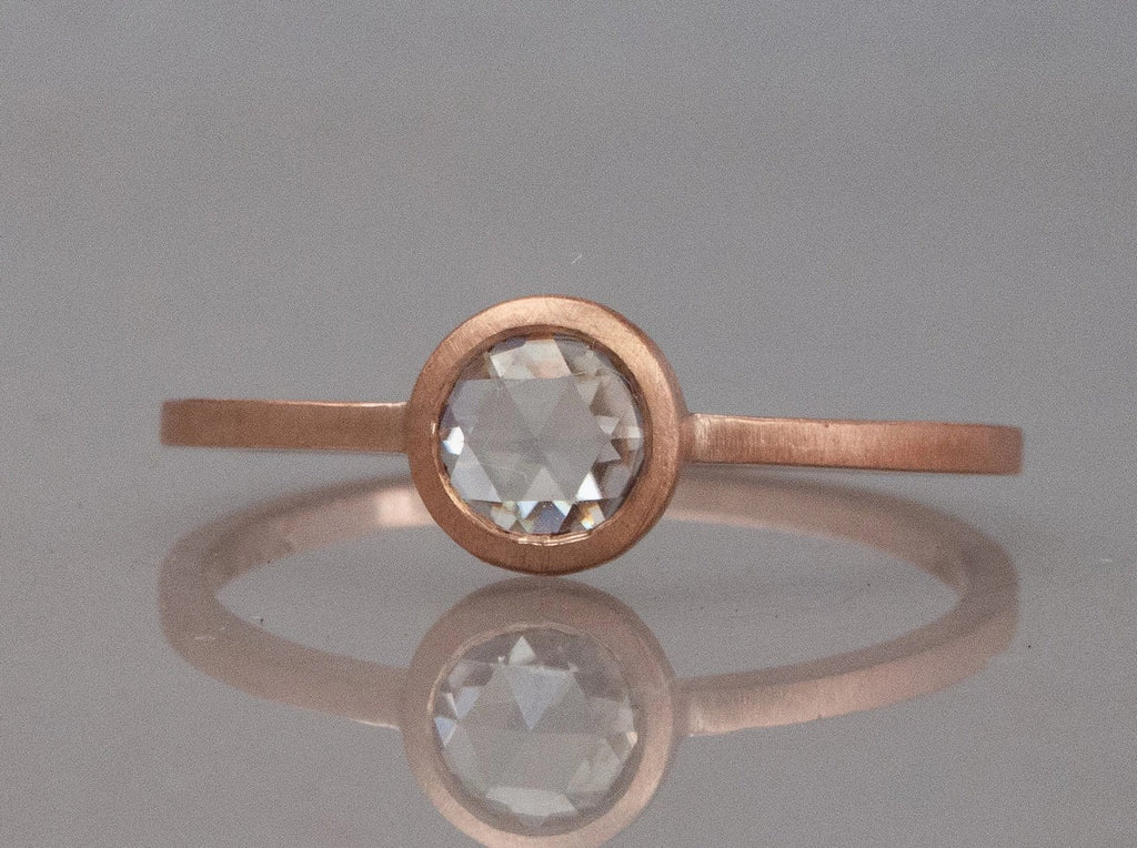 Rose Cut Moissanite Engagement Ring in 14k Gold with a low round bezel and slim square band