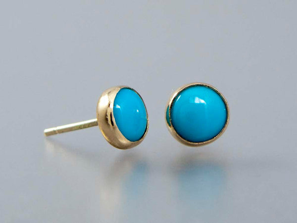 Turquoise Gold Stud Earrings - 6mm solid 14k gold settings, posts and backs