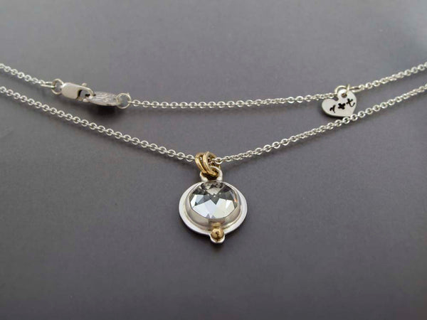 Love Necklace in 14k Gold, Sterling Silver, and Rose Cut White Topaz, Moonstone, Amethyst, or Green Quartz - Personalized with your Initials