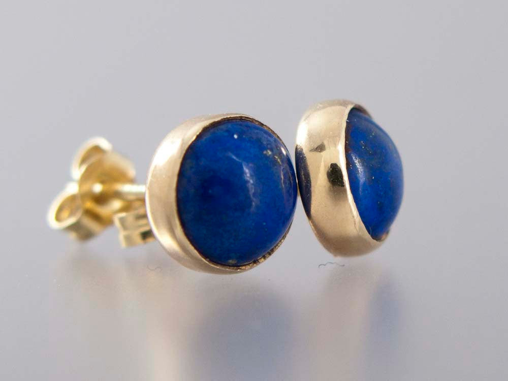 Lapis Lazuli Gold Stud Earrings, 6mm solid 14k gold settings, posts and backs