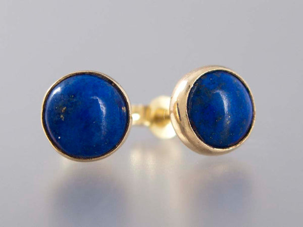 Lapis Lazuli Gold Stud Earrings - 6mm solid 14k gold settings, posts and backs