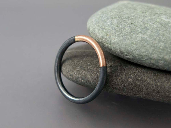 Round Married Metals Wedding Band in a mix of Sterling Silver with Yellow or Rose Gold