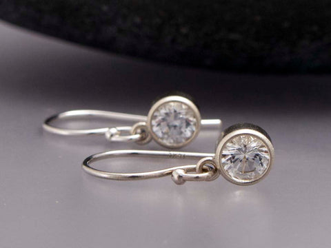 White Sapphire Gold Drop Earrings, 4mm bezel set sapphires in 14k white or yellow gold