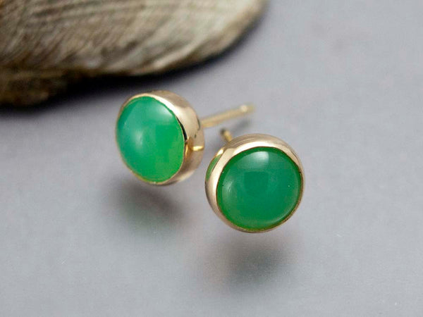 Chrysoprase Gold Stud Earrings - 6mm solid 14k gold settings, posts and backs