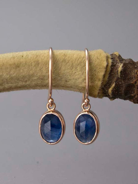 Rose Cut Oval Blue Sapphire and 14k Gold Drop Earrings - Choice of rose, yellow or white gold