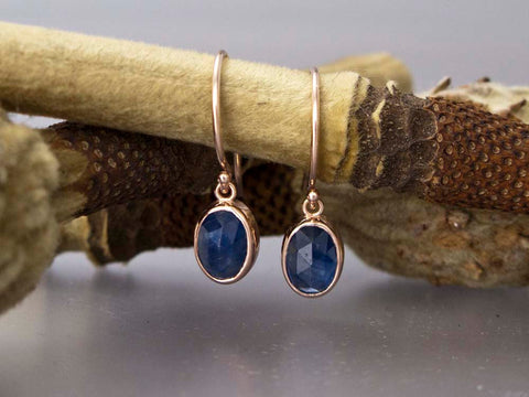 Custom Order for Al - Rose Cut Oval Blue Sapphire and 14k Gold Drop Earrings