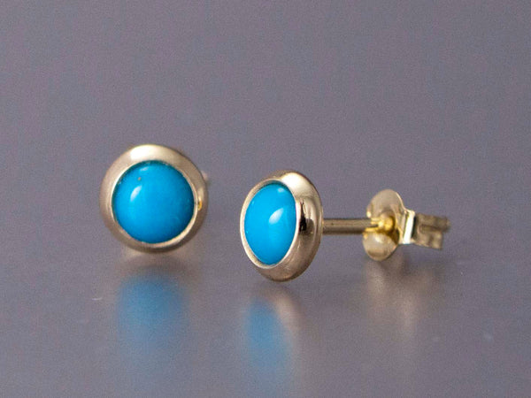 Turquoise Gold Stud Earrings - Mini 4mm solid 14k gold settings, posts and backs