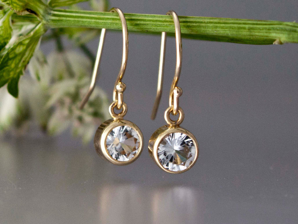 White Sapphire Gold Drop Earrings, 5mm bezel set sapphires in 14k white or yellow gold