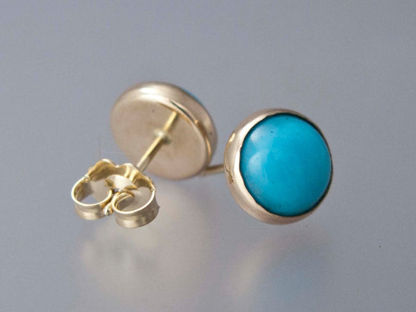 Turquoise Gold Stud Earrings - 8mm solid 14k gold settings, posts and back