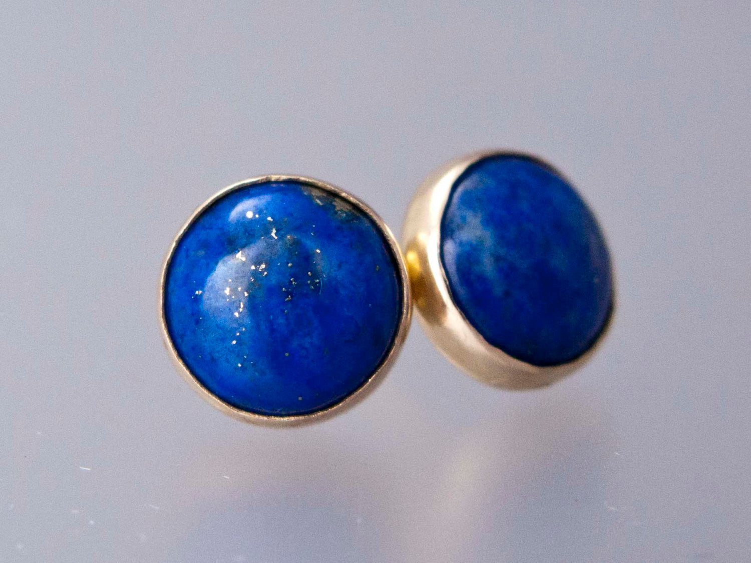 Lapis Lazuli Gold Stud Earrings - 8mm solid 14k gold settings, posts and backs