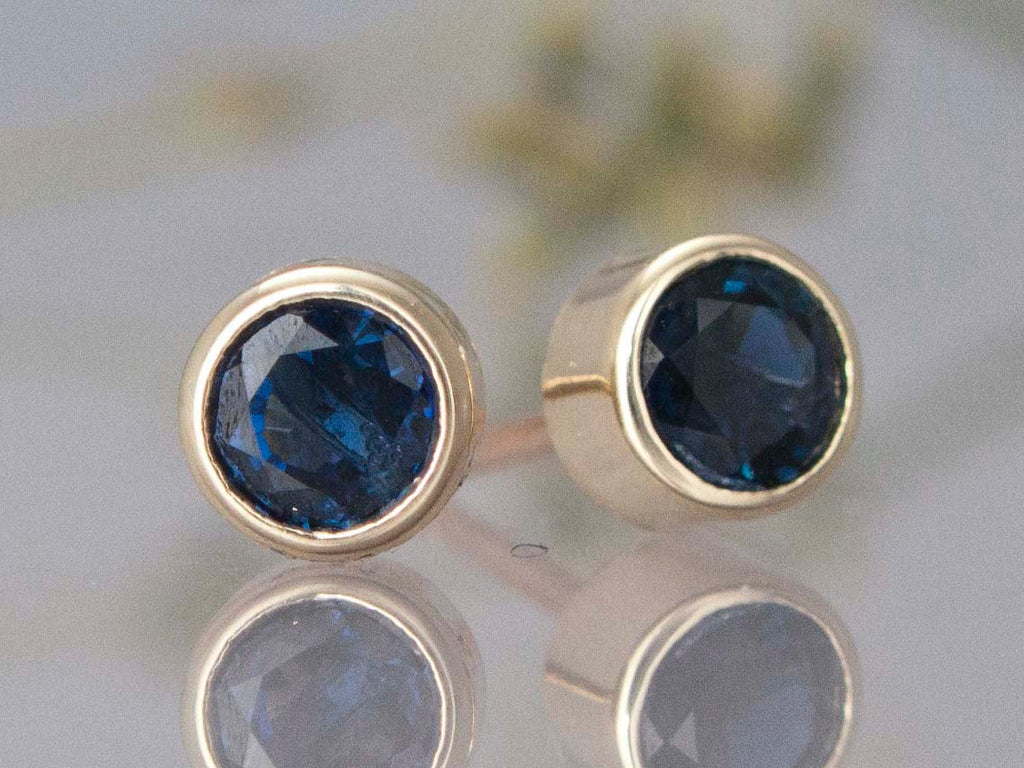 Blue Sapphire Stud Earrings in 14k Gold Bezels - Choice of yellow or white gold