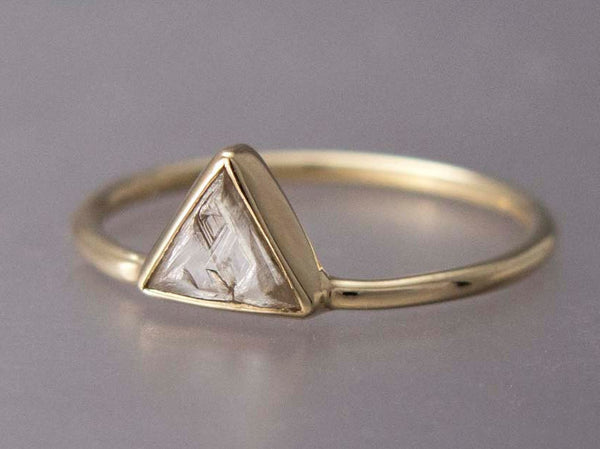 Custom Rough Triangle Diamond Gold Engagement Ring - Choose your own Raw Macle Diamond