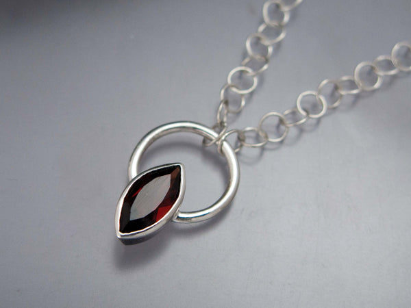 Marquise Garnet Necklace in Sterling Silver