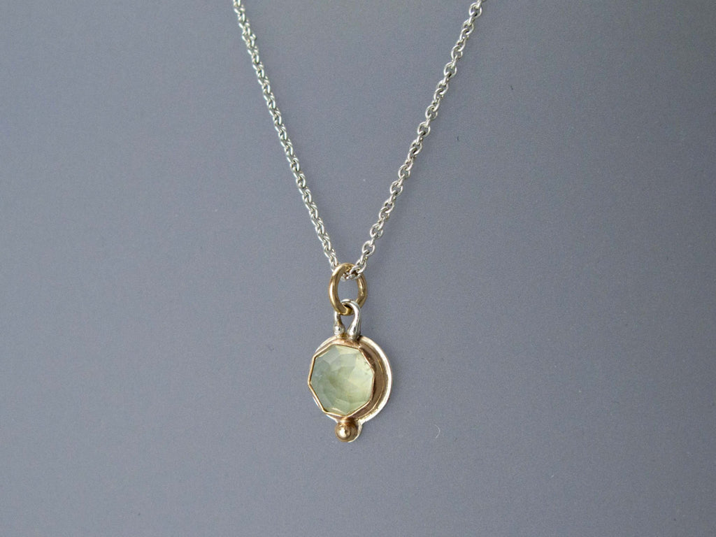 Rose Cut Green Prehnite Necklace in 14k Yellow Gold and Sterling Silver