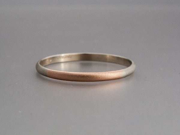 Two Tone Gold Classic Wedding Band - 14k Gold Half Round Round Married Ring in a mix of White, Yellow or Rose Gold