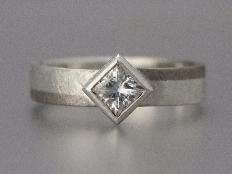 Princess Moissanite Engagement Ring in 950 Palladium and Sterling Silver