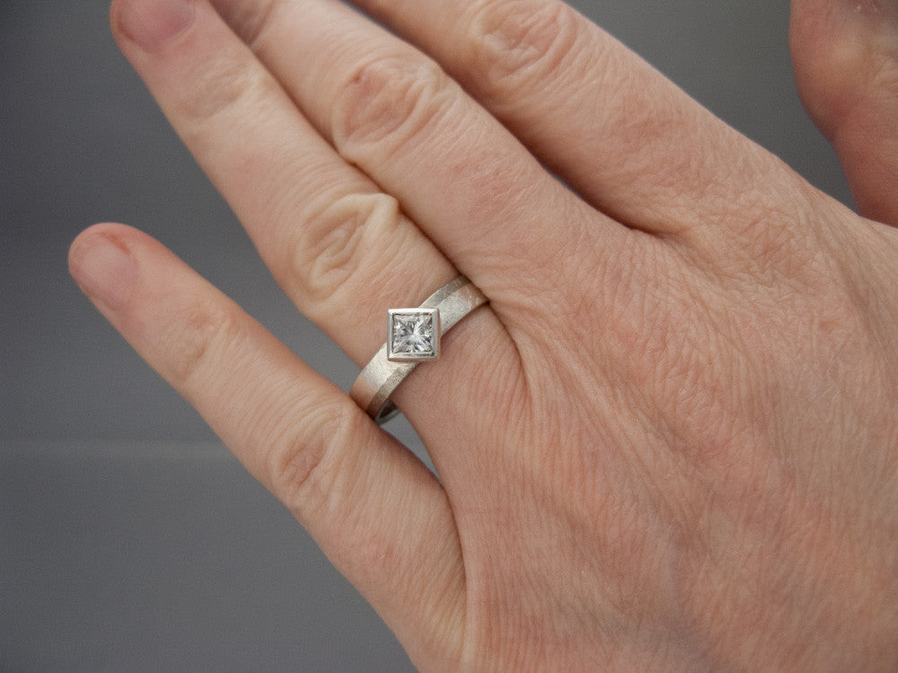 princess moissanite engagement ring in 950 palladium and sterling silver - Moissanite Wedding Rings