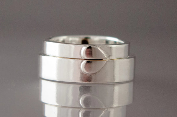 handmade heart wedding bands in recycled sterling silver