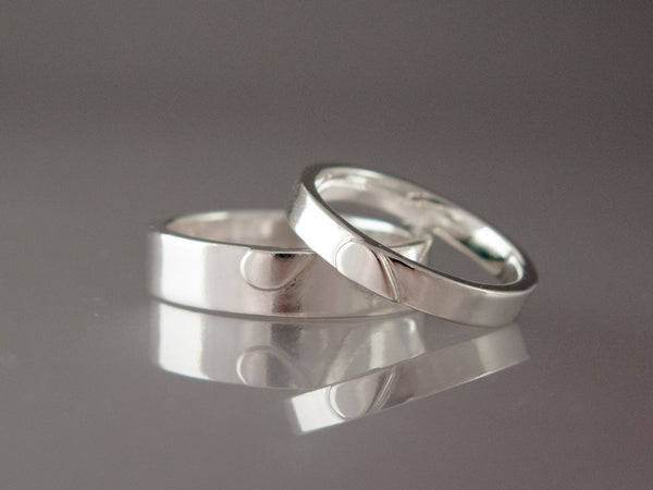 One Love Wedding Bands in Sterling Silver | 6mm Heart