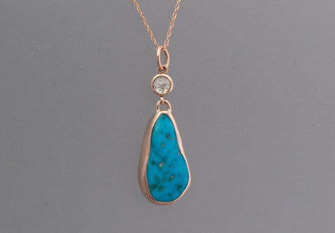 Kingman Turquoise and Rose Cut Diamond Necklace in 14k Rose Gold