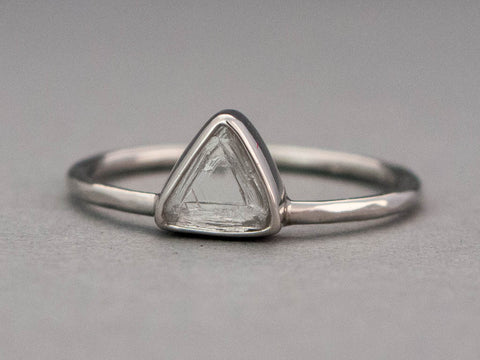 Custom Rough Triangle Diamond and Platinum Engagement Ring - Choose your own Raw Macle Diamond