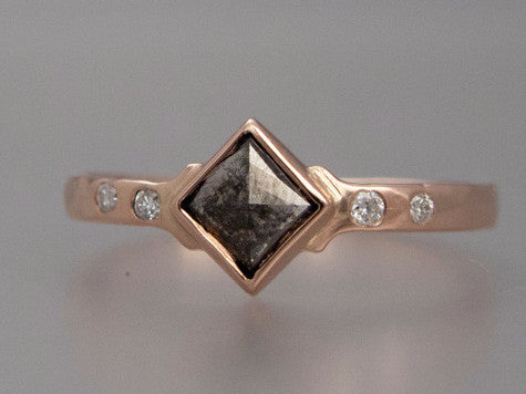 Square Rose cut Diamond and 14k Rose Gold Engagement Ring - Ready to ship in size 7