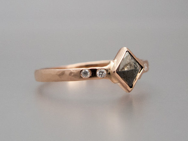 Square Rose Cut Diamond and 14k Rose Gold Engagement Ring | Choose your Diamond