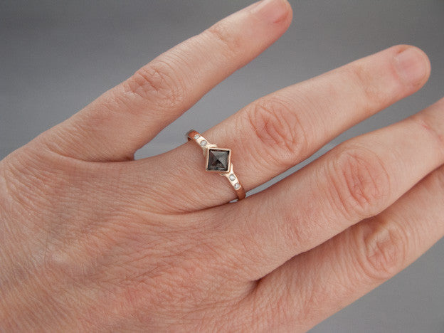 Square Rose Cut Diamond And 14k Gold Engagement Ring