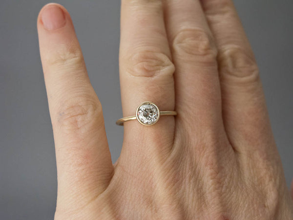White Sapphire Engagement Ring - 4mm-6.5mm Solitaire Ring with a Tapered Bezel and Delicate 1.3mm Round Band in Gold, Palladium or Platinum