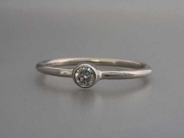Solitaire Diamond Engagement Ring - 3mm-5mm Reclaimed Diamond in a Straight Bezel and a 1.3mm Round Band in Gold or Platinum