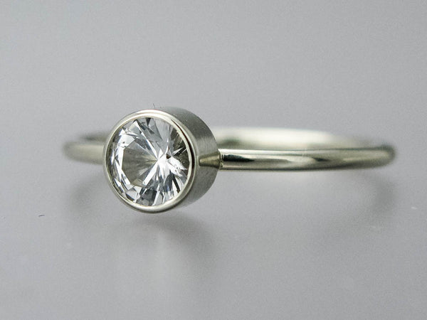 White Sapphire Engagement Ring with 3mm to 6mm Solitaire with Stacked Bezel and a Delicate 1.3mm Round Band Custom Made in 14k or 18k Gold, or Platinum