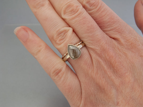 Gray Pear Rose Cut 1.75 Carat Diamond and 14k White Gold Engagement Ring Ready to ship in size 7