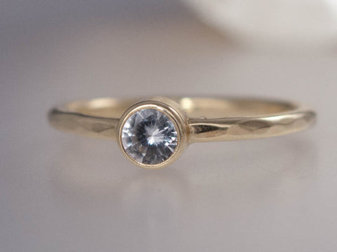 White Sapphire Engagement Ring | Solitaire Ring with 3-5mm Straight Bezel and a 1.6mm Round Band in Gold or Platinum