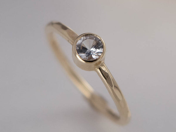 White Sapphire Engagement Ring - 3mm-6.5mm Solitaire Ring with Straight Bezel and a 1.6mm Round Band in Gold, Palladium or Platinum