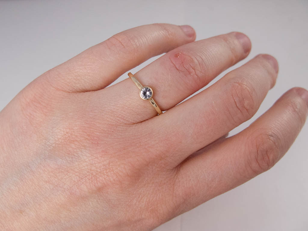 Diamond Engagement Ring - 3mm-5mm Solitaire Ring with Straight Bezel ...