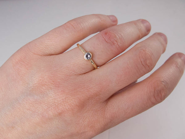 Bezel Set Diamond Engagement Ring | 3mm-5mm Solitaire Ring with Straight Bezel and a 1.6mm Round Band in Gold or Platinum