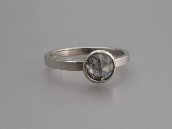 Custom Rose Cut Diamond Solitaire Engagement Ring with Low Tapered Bezel in Platinum