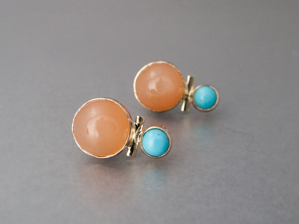 Peach Moonstone and Turquoise Stud Earrings in 14k Yellow Gold Bezels