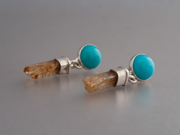 Turquoise Raw Golden Topaz Crystal Earrings in Sterling Silver