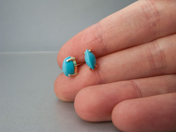 Turquoise Marquise Prong Studs in 14k Yellow Gold, 8x4mm Earrings