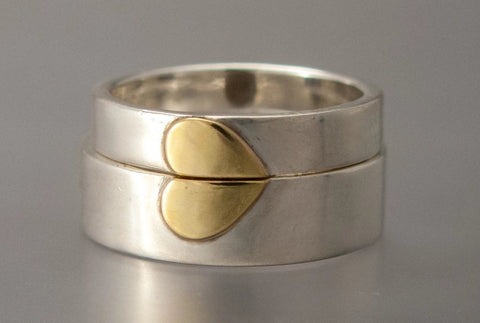 Silver and gold heart wedding bands by Shirlee Grund 4mm and 6mm flat bands