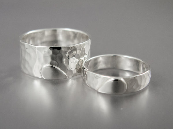One Love Wedding Bands in Sterling Silver with Silver Heart | 10mm Heart