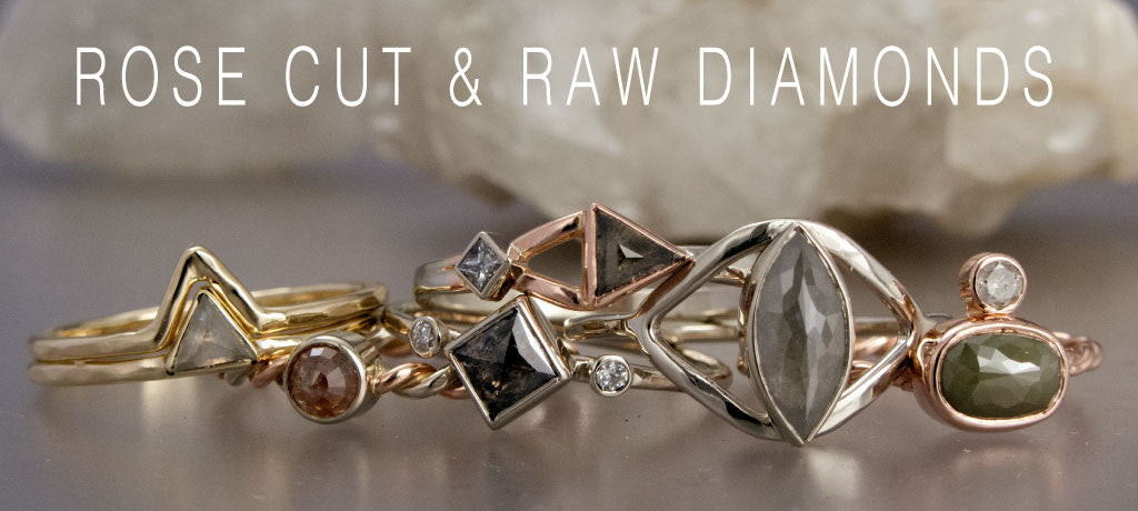 rose cut and raw diamond rings
