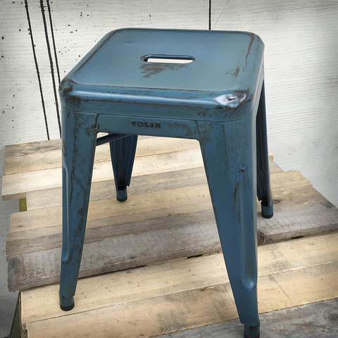 HOCKER H45 RAW PATINIERT BLAU Hocker RW547 Design