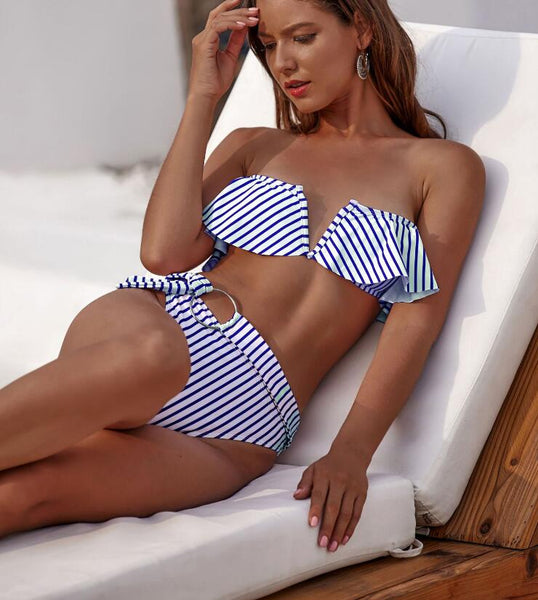 Blue Stripped Ruffles High Waist Bikini Set - Pink Picot