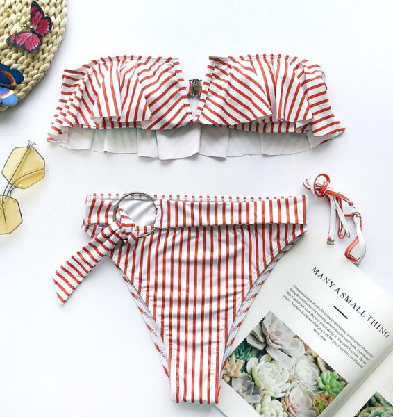 Red Stripped Ruffles High Waist Bikini Set - Pink Picot