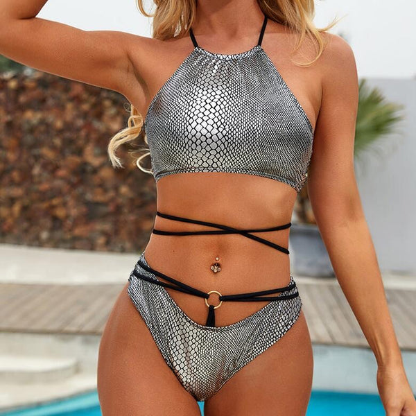 Silver High Neck Bikini - Pink Picot