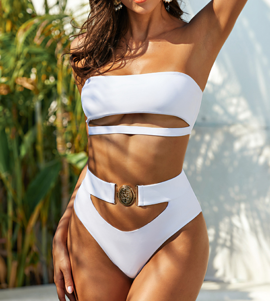 Cut Out Buckle High Waist White Bikini - Pink Picot