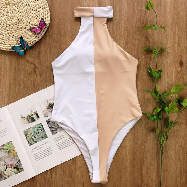 Halter Patchwork One Piece Swimsuit - Pink Picot